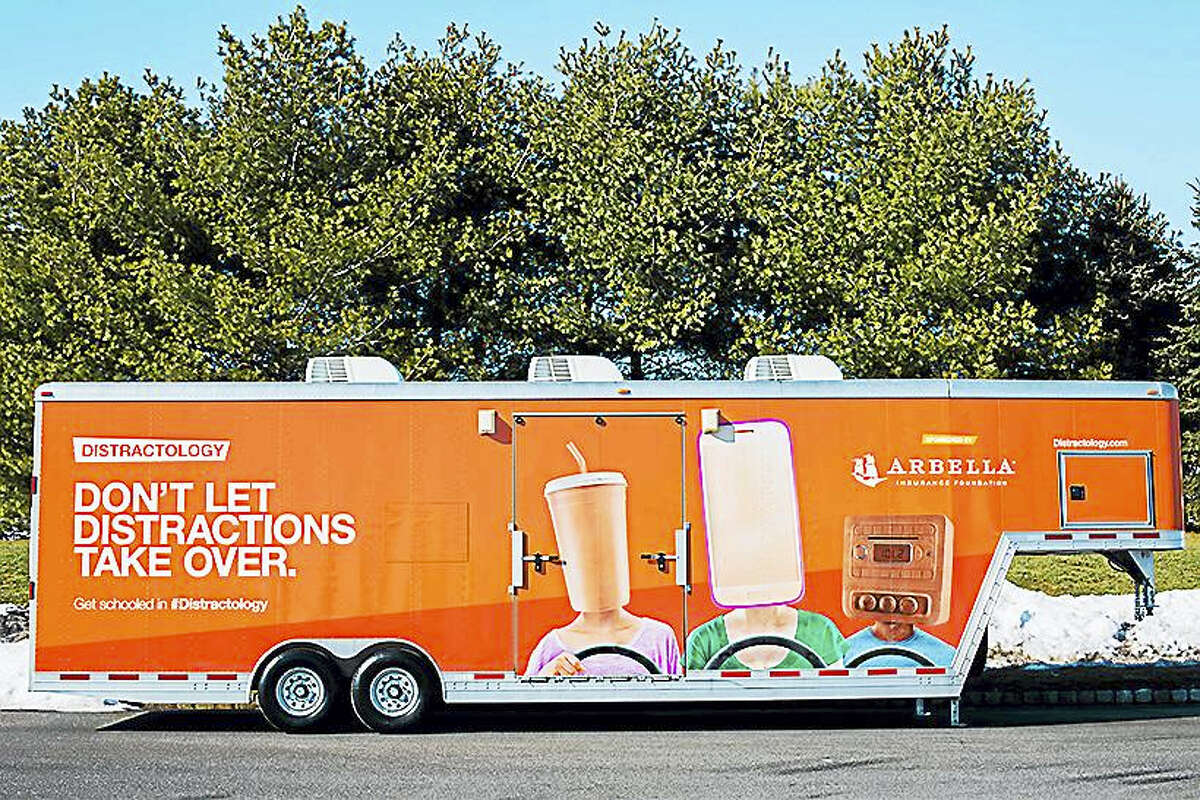 This 36-foot mobile driving simulator visits schools to let teens with a driver's license or learner's permit to take a quick course on distracted driving.