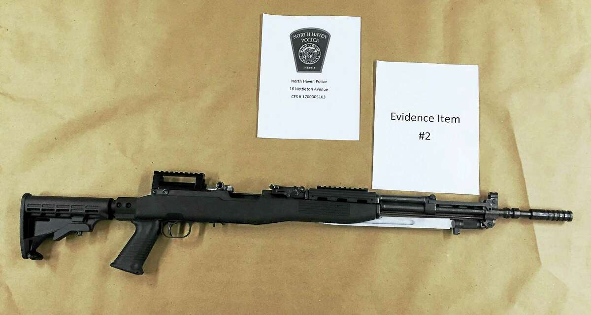 North Haven police seized six firearms on March 26, 2017, including two assault rifles, while investigating a complaint that Richard Avino of Nettleton Avenue pointed one of the rifles at a woman who was sitting in her car. (Photo courtesy of North Haven Police Department)