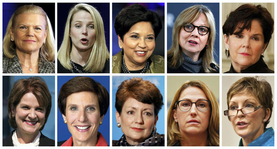 This photo combination of images shows the 10 highest paid women CEOs in 2016, according to a study carried out by executive compensation data firm Equilar and The Associated Press. Top row, from left: IBM CEO Virginia Rometty; Yahoo CEO Marissa Mayer; PepsiCo CEO Indra Nooyi; General Motors CEO Mary Barra, and General Dynamics CEO Phebe Novakovic. Bottom row, from left: Lockheed Martin CEO Marillyn Hewson; Mondelez International CEO Irene Rosenfeld; Duke Energy CEO Lynn Good; Mylan CEO Heather Bresch; and Reynolds American CEO Susan Cameron. (AP Photo) Photo: AP / AP