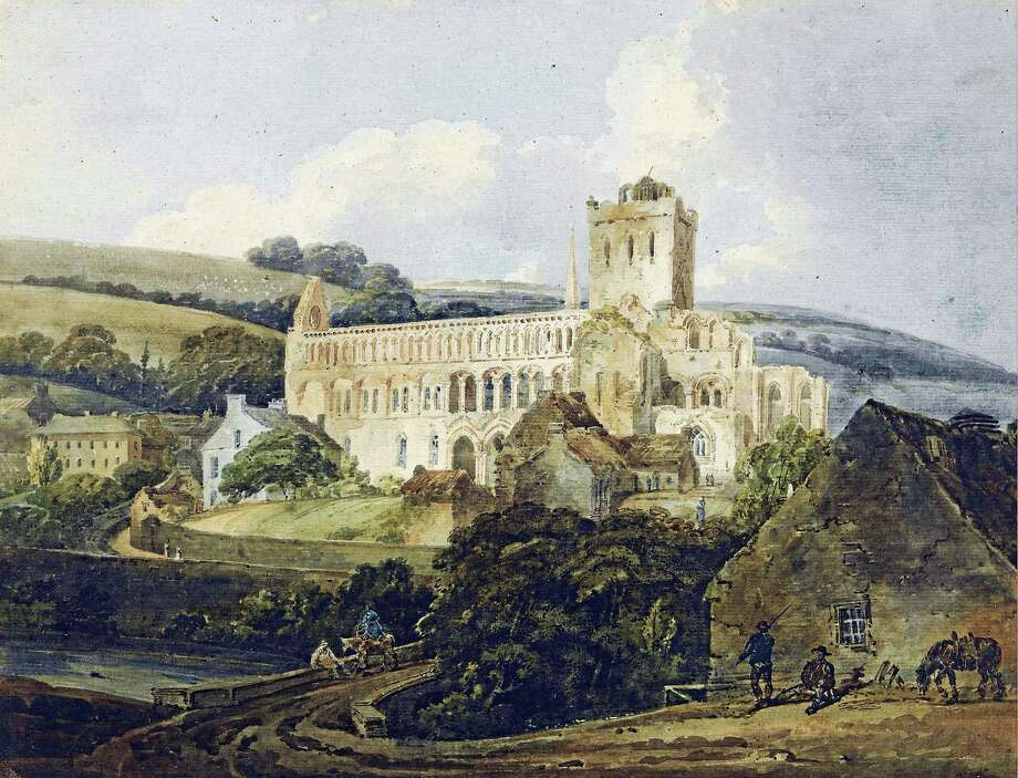 """""""Jedburgh Abbey from the South East,"""" by Thomas Girtin. Photo: Photo Courtesy Of Ronnie Rhyz / YCBA   / Yale Center for British Art"""