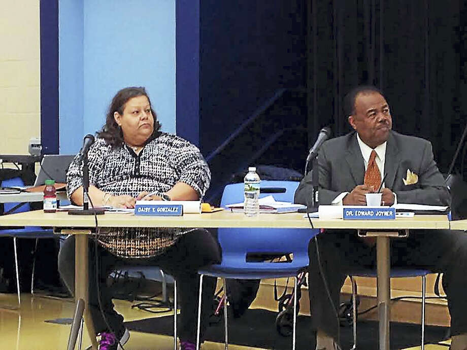Newly-elected Board of Education President Daisy Gonzalez and Vice President Edward Joyner. Photo: Brian Zahn — New Haven Register