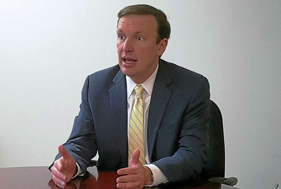 U.S. Sen. Chris Murphy, D-Conn., makes a point during an editorial board meeting with the New Haven Register. Photo: Shahid Abdul-Karim / New Haven Register