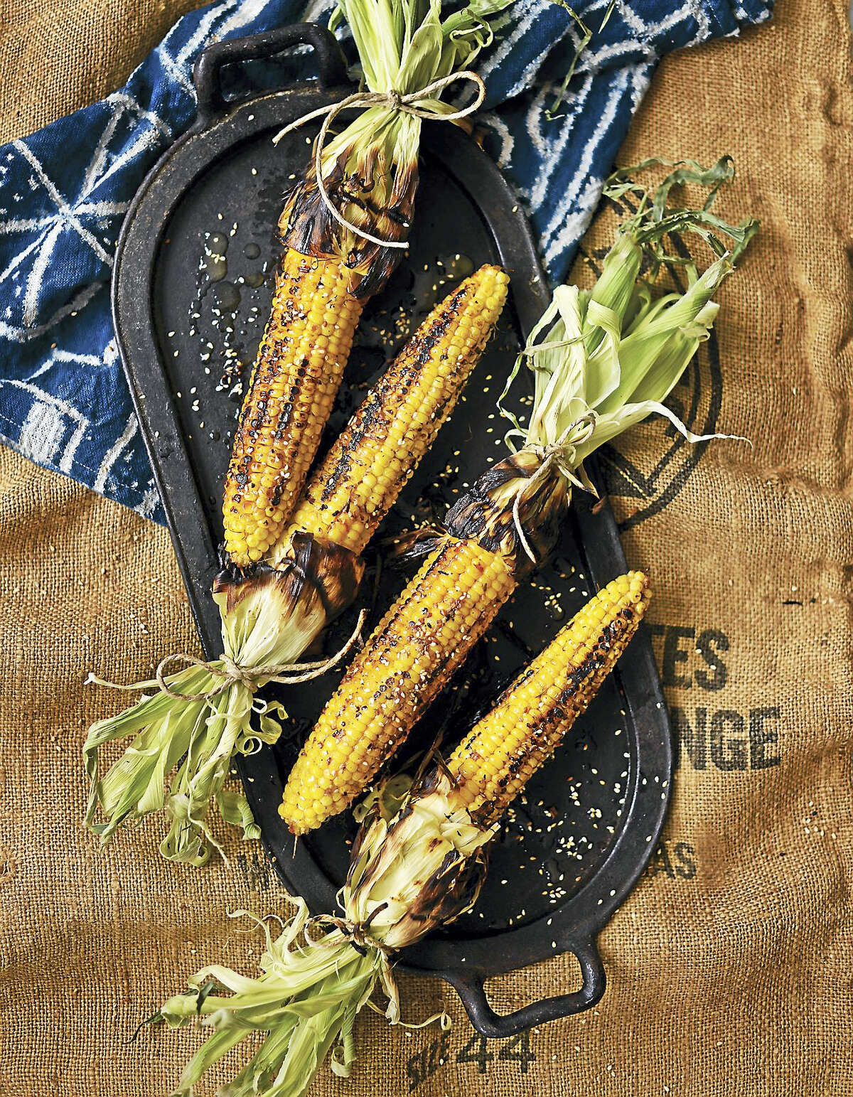 Grilled corn with sesame soy butter baste.