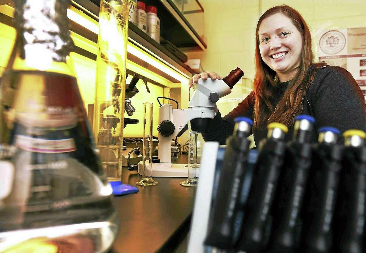 Courtney McGinnis, Quinnipiac University associate professor of biology in her lab.