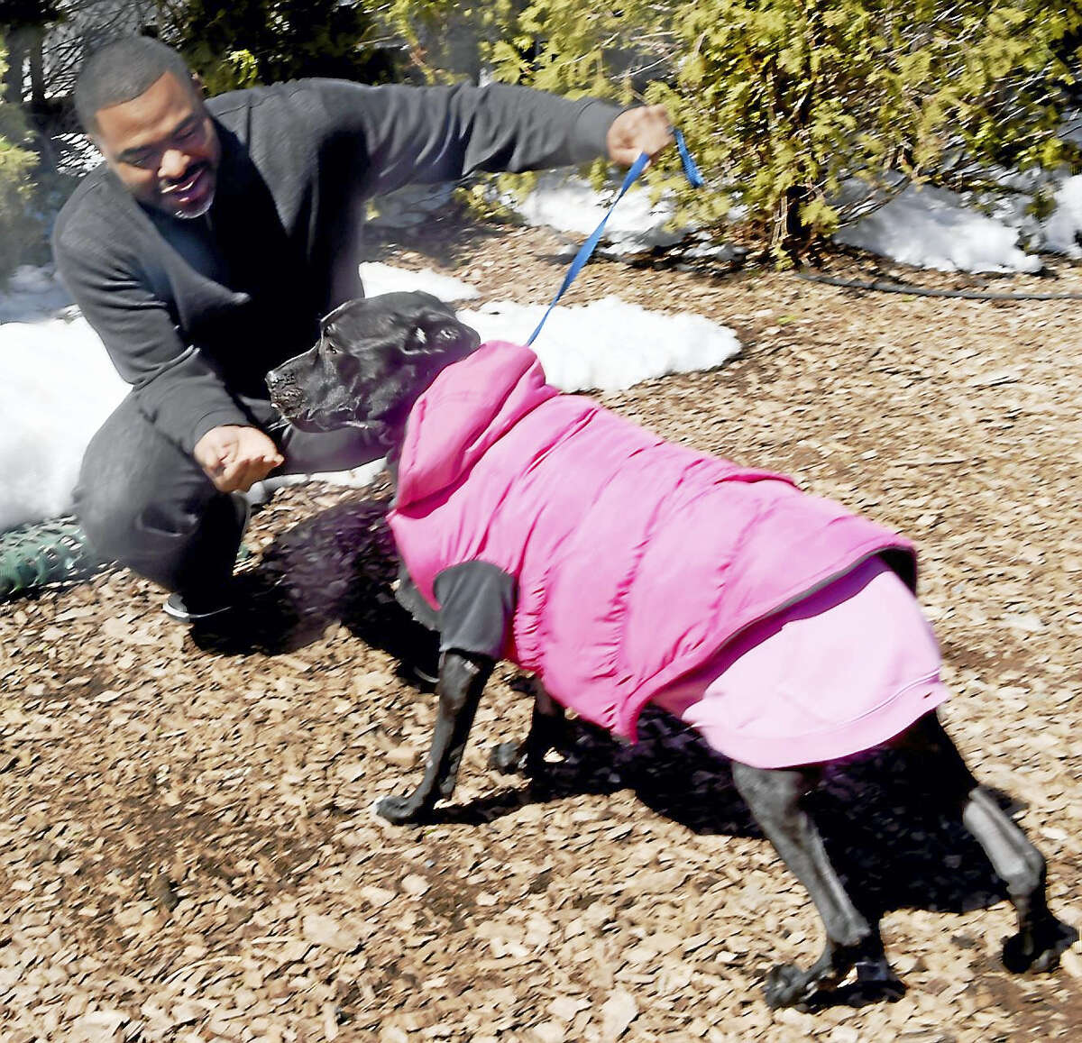 The New Haven Register's Shahid Abdul Karim with the Labrador retriever/pit bull mix dog Hope at a veterinary hospital in Connecticut last week. The dog was recently found wandering in Branford and emaciated with serious medical conditions.