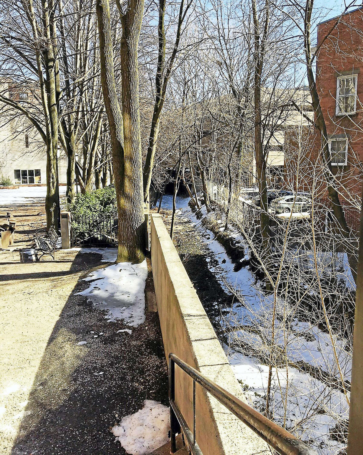 Easements are still needed for two properties to move ahead with bidding on the 4th phase of the Farmington Canal trail. This is a view from Whitney Avenue.