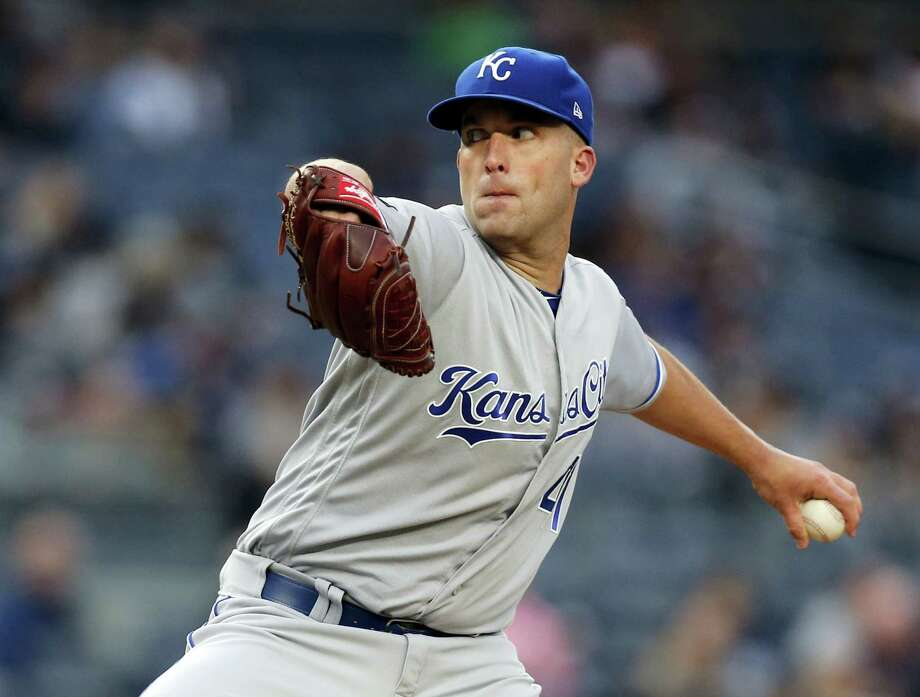 Kansas City Royals starting pitcher Danny Duffy delivers during the first inning against the New York Yankees at Yankee Stadium in New York Tuesday. Duffy beat the Yankees for the seocnd time in less than a week. Photo: KATHEY WILLENS - THE ASSOCIATED PRESS   / Copyright 2017 The Associated Press. All rights reserved.