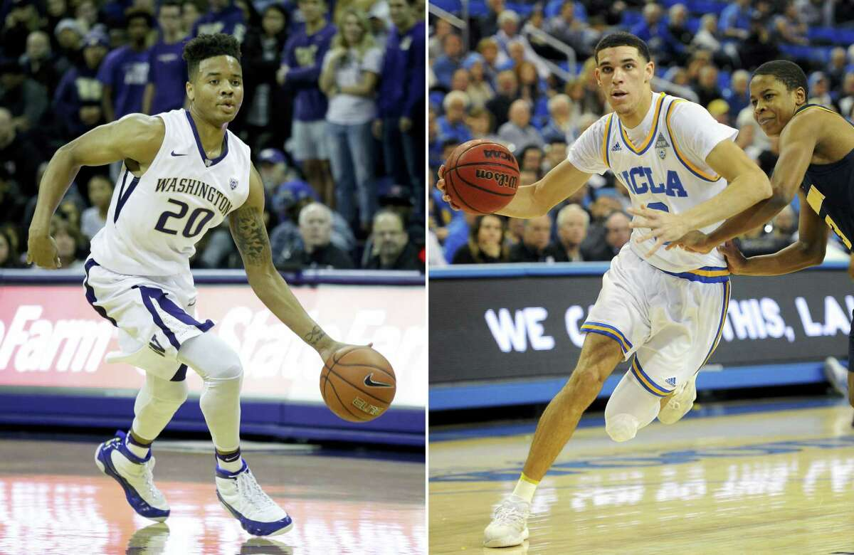 At left, in a Dec. 11, 2016 photo, Washington's Markelle Fultz drives against Nevada in an NCAA college basketball game in Seattle. At right, in a Jan. 5, 2017 photo, UCLA guard Lonzo Ball drives against California's Charlie Moore during an NCAA college basketball game in Los Angeles. Fultz should go No. 1 and Ball would then get his wish to stay in Los Angeles at No. 2.