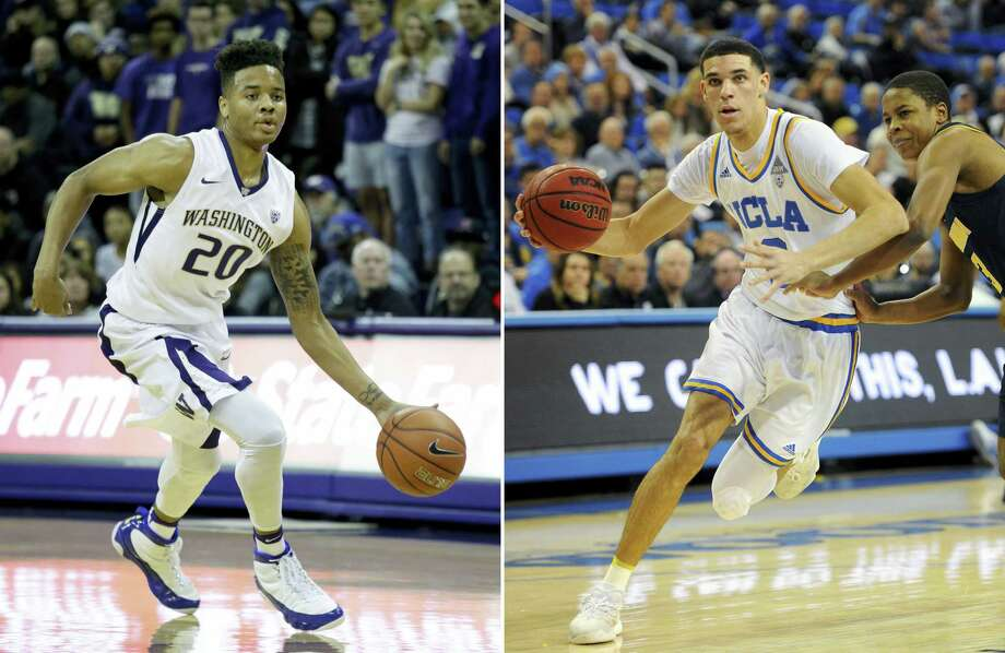 At left, in a Dec. 11, 2016 photo, Washington's Markelle Fultz drives against Nevada in an NCAA college basketball game in Seattle. At right, in a Jan. 5, 2017 photo, UCLA guard Lonzo Ball drives against California's Charlie Moore during an NCAA college basketball game in Los Angeles. Fultz should go No. 1 and Ball would then get his wish to stay in Los Angeles at No. 2. Photo: AP Photo — File   / AP