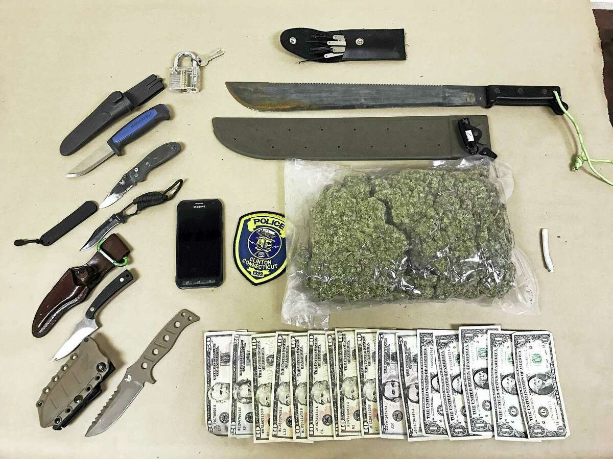 Items seized during a traffic stop in Clinton.
