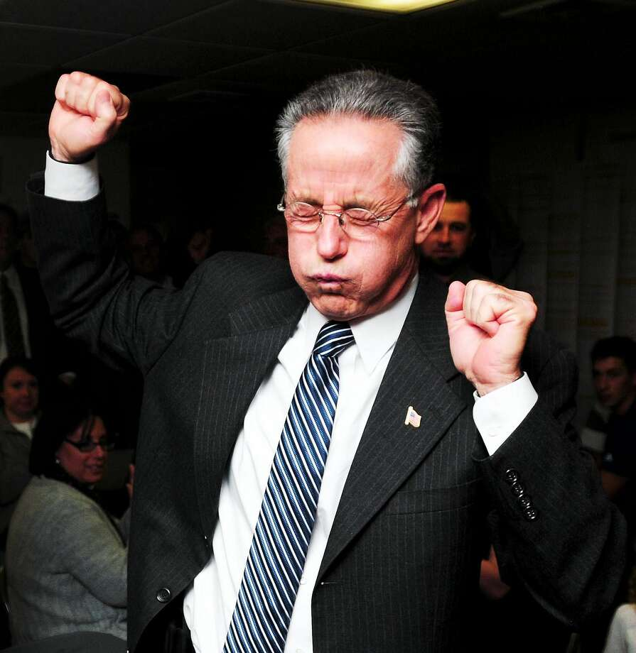 East Haven Mayor Joseph Maturo Jr. celebrates after winning re-election in 2013. Photo: Arnold Gold — New Haven Register File Photo