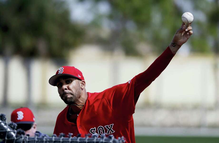 Boston Red Sox pitcher David Price throws a live batting session at a spring training workout in Fort Myers, Fla., Sunday. Photo: David Goldman — The Associated Press   / Copyright 2017 The Associated Press. All rights reserved.