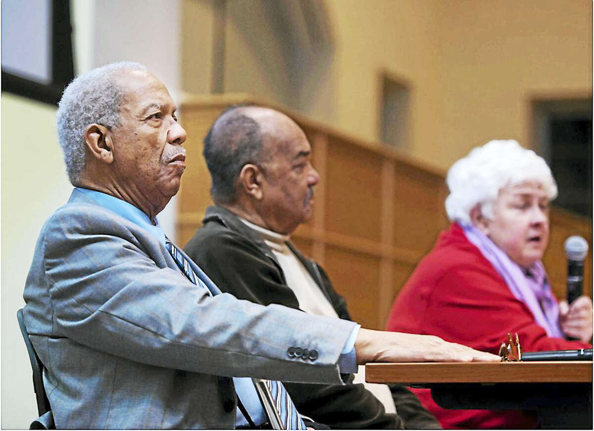 "The Rev. Reginald Green, Dion Diamond and Joan Browning during ""Activism and Faith: An Evening with the Freedom Riders"" Monday in the Mount Carmel Auditorium on Quinnipiac University's Mount Carmel Campus."