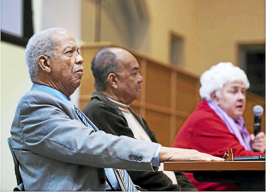 """The Rev. Reginald Green, Dion Diamond and Joan Browning during """"Activism and Faith: An Evening with the Freedom Riders"""" Monday in the Mount Carmel Auditorium on Quinnipiac University's Mount Carmel Campus. Photo: CONTRIBUTED PHOTO — Autumn Driscoll/Quinnipiac University"""