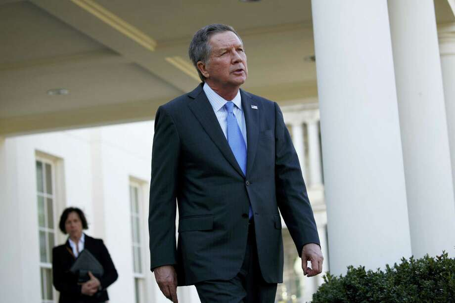 Ohio Gov. John Kasich walks out of the White House in Washington, Friday, Feb. 24, 2017, to speak with reporters following a meeting with President Donald Trump. (AP Photo/Evan Vucci) Photo: AP / Copyright 2017 The Associated Press. All rights reserved.