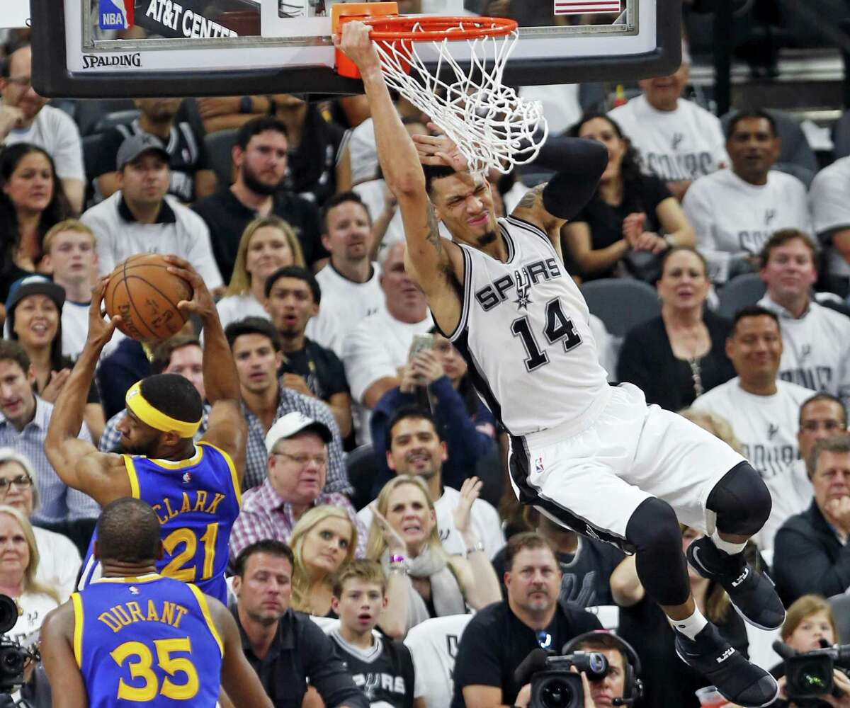 San Antonio Spurs forward Danny Green (14) misses a dunk during the second half in Game 3 of the NBA basketball Western Conference finals on May 20, 2017 in San Antonio.