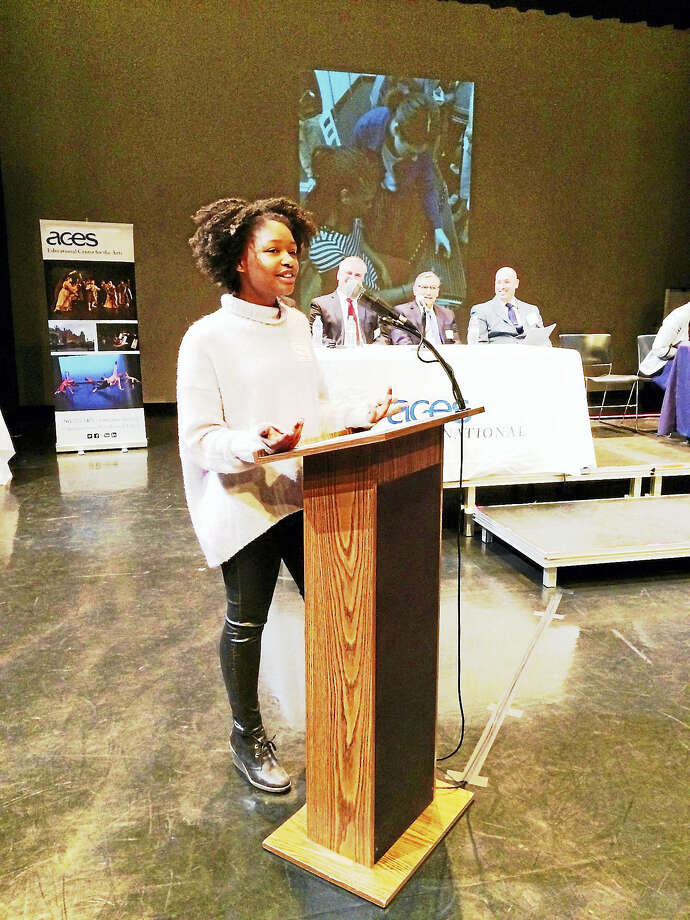 Reaiah Rutherford, a music student at Educational Center for the Arts, describes how the school has nurtured her. Photo: Contributed Photo — Jennifer Kaylin