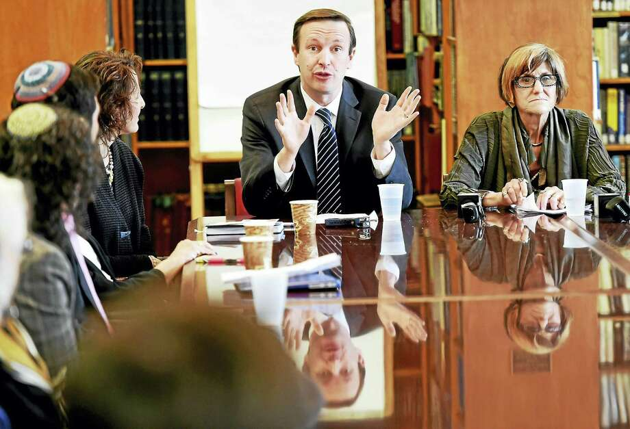 U.S. Sen. Chris Murphy, D-Conn., and U.S. Rep. Rosa DeLauro, D-3, meet with members of the Jewish Community Thursday morning at Congregation B'nai Jacob in Woodbridge, to hear their concerns about recent anti-Semitic activities. Photo: Peter Hvizdak — New Haven Register   / ©2017 Peter Hvizdak