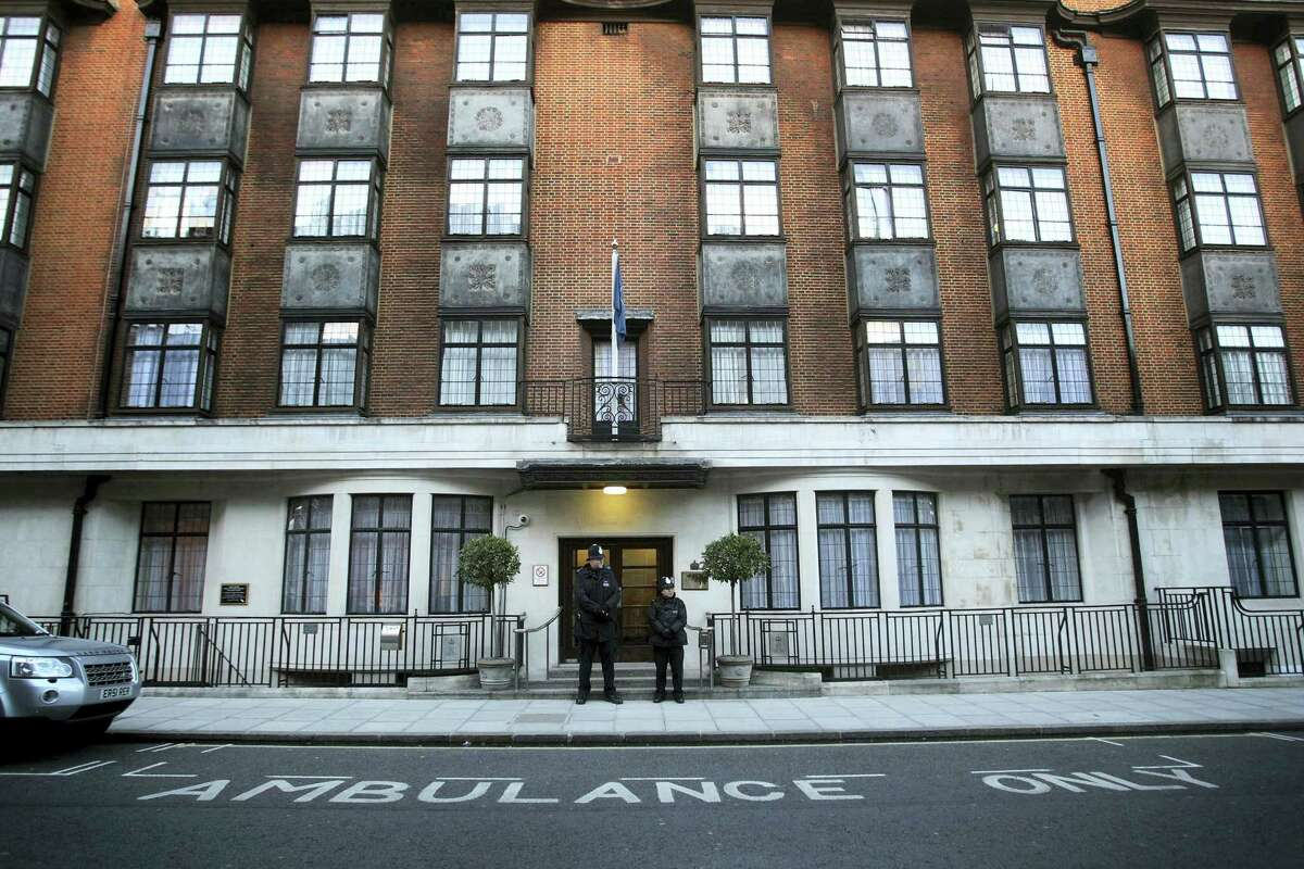 This is a March 3, 2013, file photo of King Edward VII's Hospital in London. Buckingham Palace said Wednesday June 21, 2017, that Prince Philip has been admitted to King Edward VII's Hospital for treatment of an infection and will not be attending the queen's speech.
