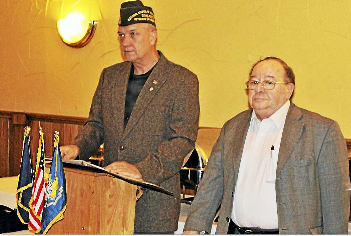 VFW District 2 Commander Stanley Borusiewicz, left, with VFW Post 12084 Commander Al Yagovane at recent induction ceremony.