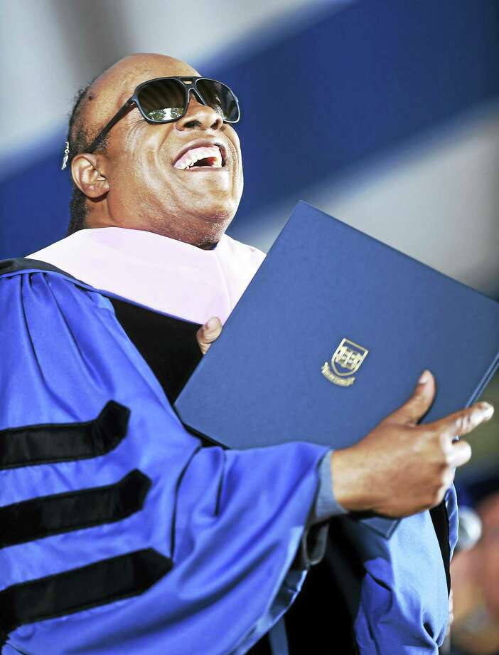 (Arnold Gold-New Haven Register)  Stevie Wonder receives an Honorary Doctor of Music degree at Yale University Commencement on Old Campus in New Haven Monday. Photo: Digital First Media
