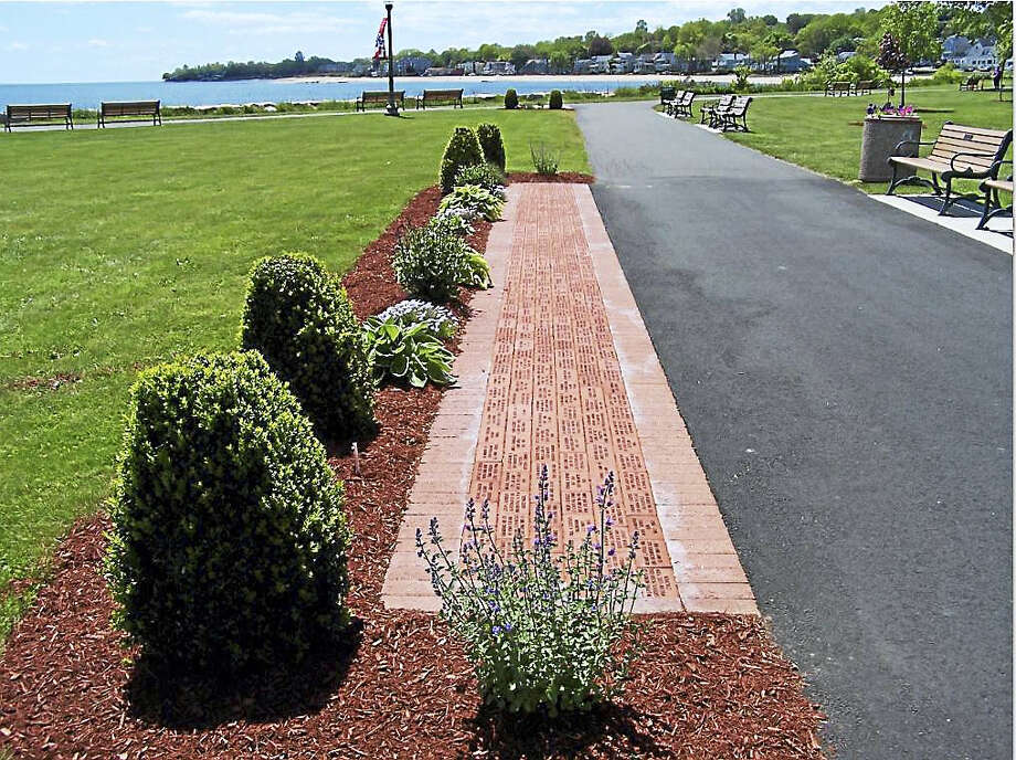 The brick Veterans Walk of Honor in Bradley Point Park. Photo: Contributed Photo — Michael P. Walsh, City Of West Haven
