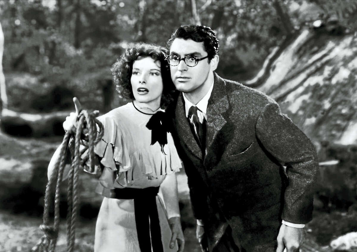 """""""Bringing Up Baby,"""" the 1933 madcap comedy with Cary Grant and Katherine Hepburn, which had a connection to the Yale Peabody Museum."""