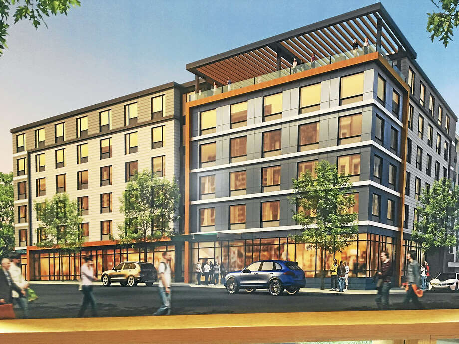 Sketch of proposed hotel on Crown and High streets in New Haven planned by RMS Companies. Photo: Mary O'Leary / Hearst Connecticut Media