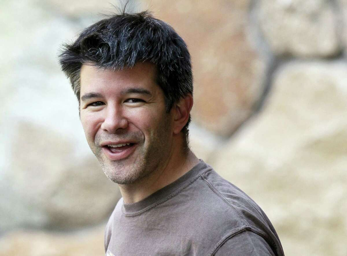 In this July 10, 2012 photo, Uber CEO and co-founder Travis Kalanick arrives at a conference in Sun Valley, Idaho. Kalanick said in a statement to The New York Times on Tuesday that he has accepted a request from investors to step aside. Kalanick says the move will allow the ride-sharing company to go back to building itself rather than become distracted by another fight.