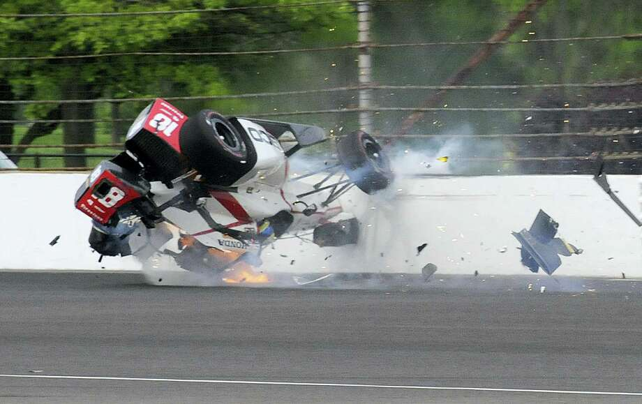 The car driven by Sebastien Bourdais, of France, impacts the wall in the second turn during qualifications for the Indianapolis 500 IndyCar auto race at Indianapolis Motor Speedway on Saturday, May 20, 2017 in Indianapolis. Photo: AP Photo — Greg Huey   / Copyright 2017 The Associated Press. All rights reserved.