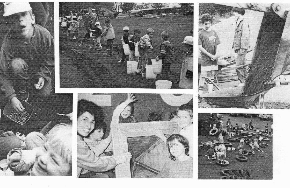 Photo collage from the playground rebuild back in 1989. One involved parent was a Melissa Jones' fifth grader back then.