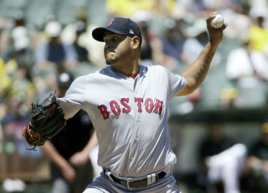 Red Sox starter Eduardo Rodriguez throws against the Athletics on Sunday. Photo: Jeff Chiu — The Associated Press   / Copyright 2017 The Associated Press. All rights reserved.