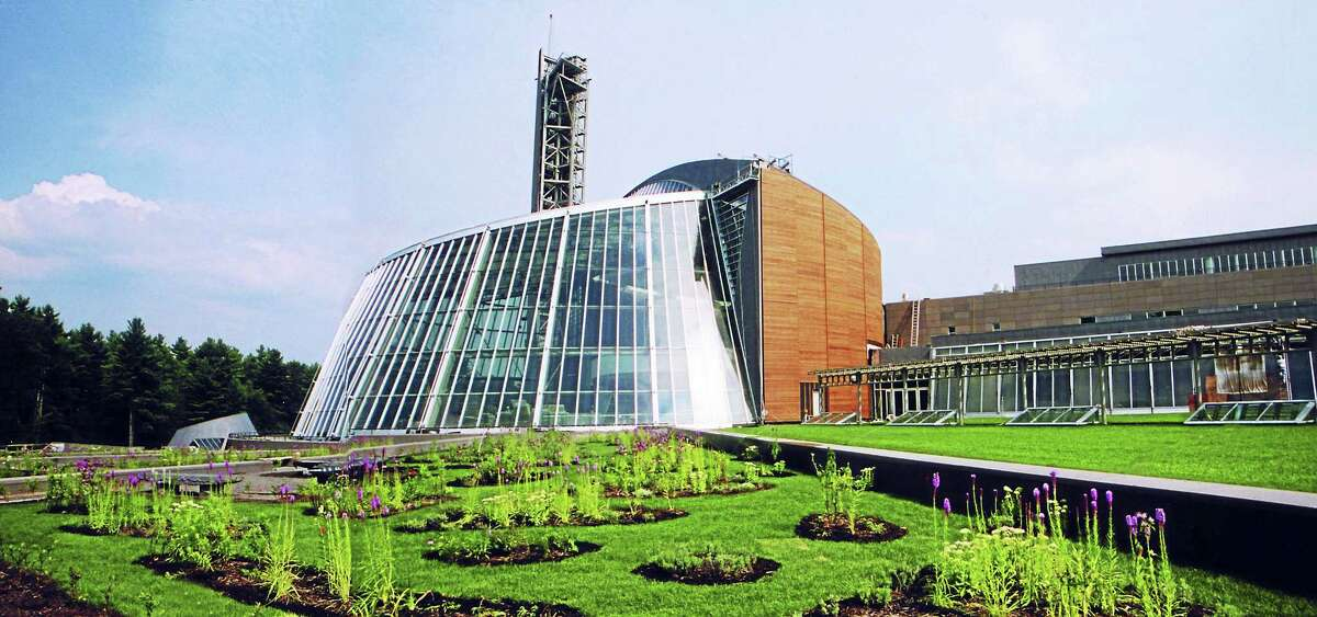 The tower, atrium and gardens of the Mashantucket Pequot Museum and Research Center.