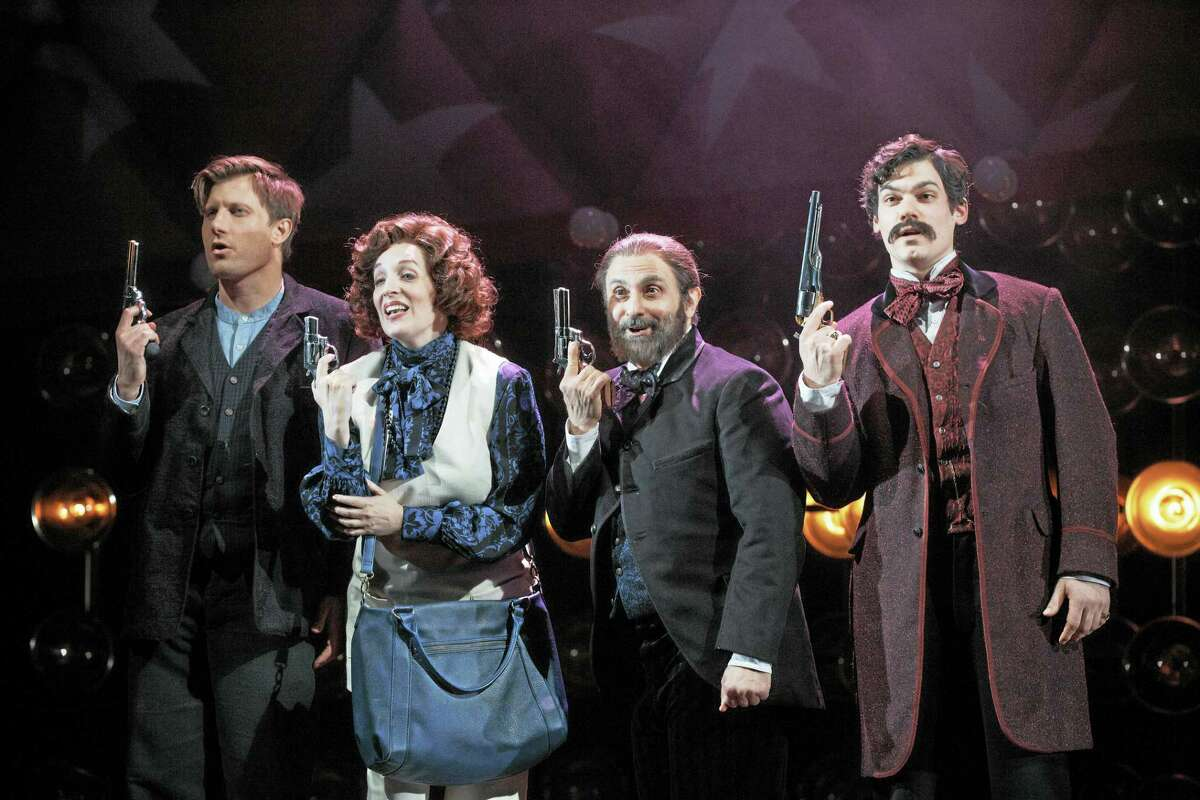 "From left, P. J. Griffith, Julia Murney, Stephen DeRosa and Robert Lenzi in ""Assassins"" at Yale Rep."