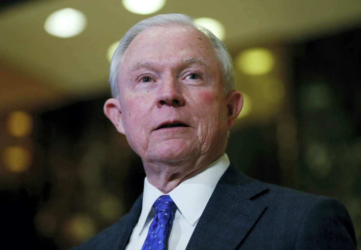 Attorney General Jeff Sessions, R-Ala. speaks to media at Trump Tower in New York.