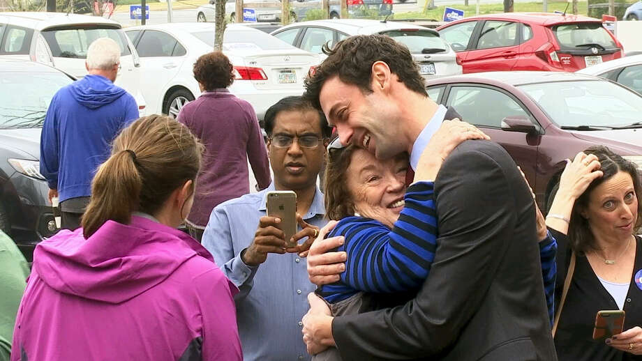 Then-Democratic Congressional candidate Jon Ossoff greets supporters outside of the East Roswell Branch Library in Roswell, Ga., Photo: Alex Sanz — The Associated Press   / AP