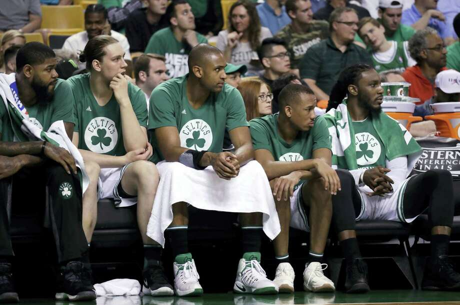 Boston Celtics players watch from the bench during the second half of Game 2 of the Eastern Conference finals Friday in Boston. Photo: Elise Amendola — The Associated Press   / Copyright 2017 The Associated Press. All rights reserved.