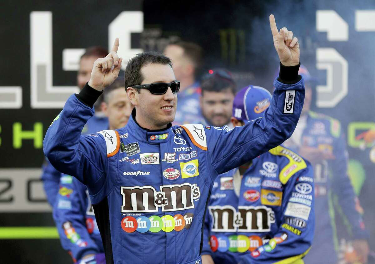 Kyle Busch is introduced before Saturday's NASCAR Cup series All-Star race at Charlotte Motor Speedway on Saturday.