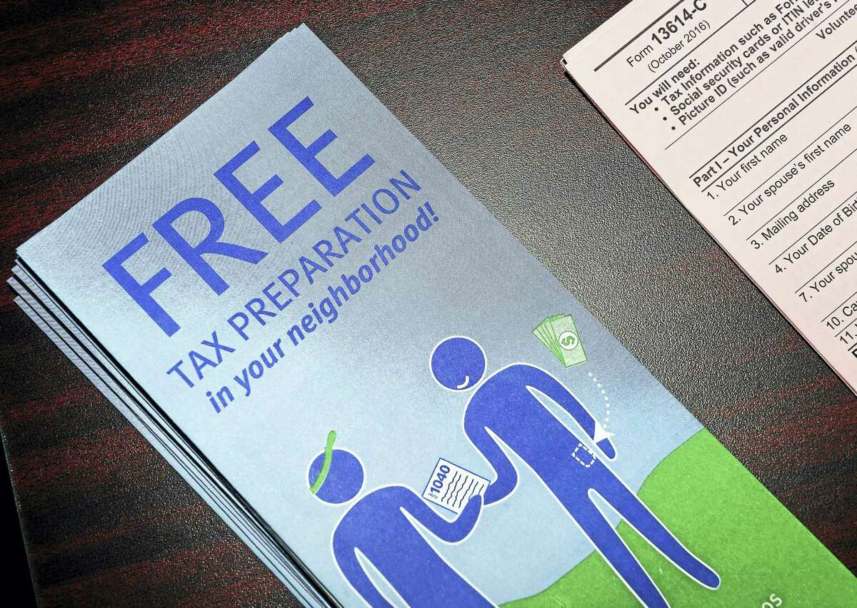 A pamphlet about the Volunteer Income Tax Assistance program is displayed at City Hall in New Haven Tuesday.