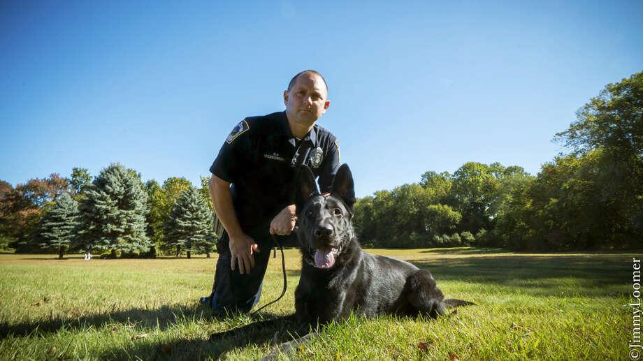Seymour police Officer John Oczkowski and partner Zoar. Photo: Contributed Photo
