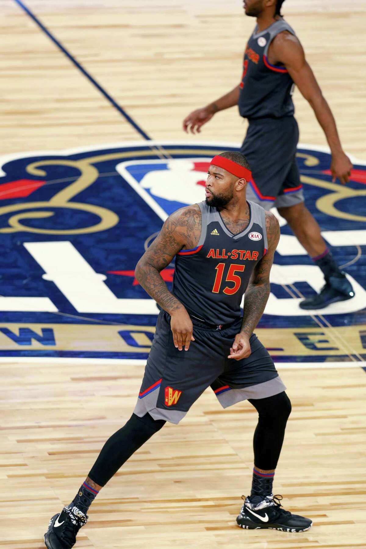 Western Conference forward DeMarcus Cousins of the Sacramento Kings (15) plays during the first half of the NBA All-Star basketball game in New Orleans on Sunday, Feb. 19, 2017. The New Orleans Pelicans agreed to acquire Cousins from the Kings on Sunday, the same night the center was playing in the All-Star Game in their arena.