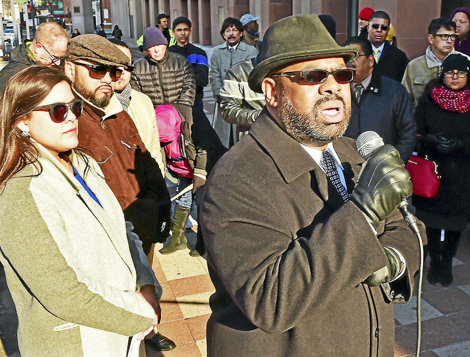Attorney Michael Jefferson, who, in 1995, helped create New Haven's New Haven Police Department Civilian Review Board, speaks during a rally and press conference in front of New Haven City Hall. Photo: (Peter Hvizdak — New Haven Register)   / ©2016 Peter Hvizdak
