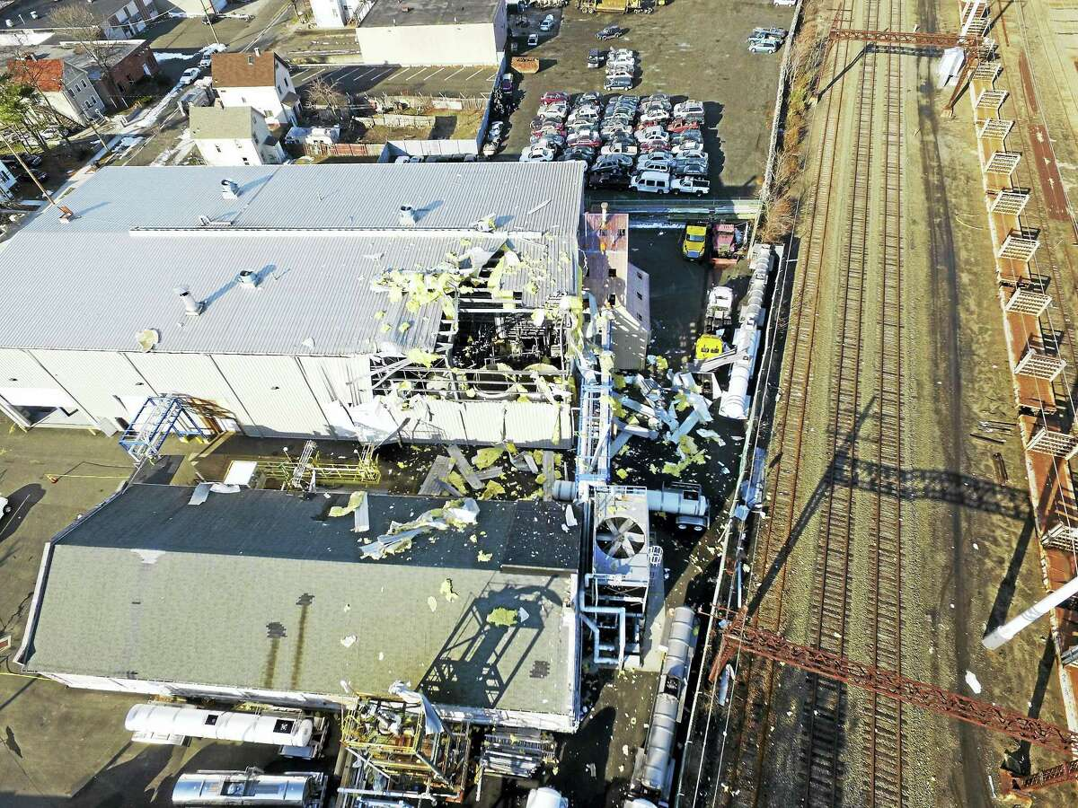 CONTRIBUTED PHOTO An aerial view of damage from the 2016 Chlor-Alkali chemical plant explosion on Welton Street in New Haven.