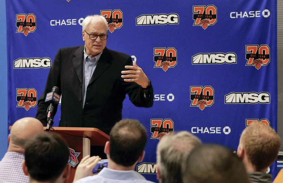 New York Knicks president Phil Jackson answers questions during a news conference Friday. Photo: Julie Jacobson — The Associated Press   / Copyright 2017 The Associated Press. All rights reserved.