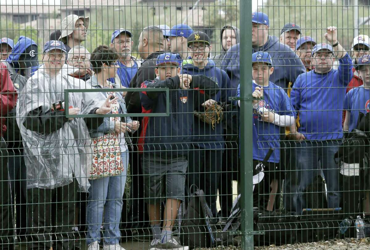 Chicago Cubs fans wait for players outside the team's clubhouse on Feb. 14, 2017 in Mesa, Ariz. The team cancelled their workout due to rain in the area.
