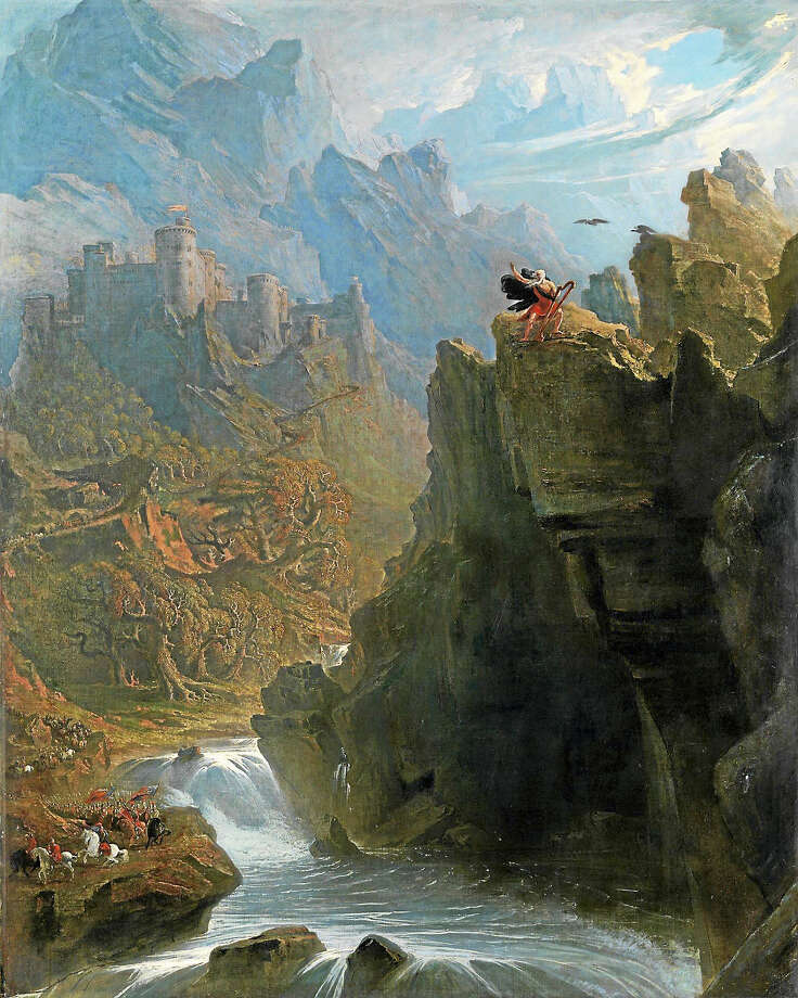"""John Martin's """"The Bard,"""" where the castle is in the background. Photo: Photo Courtesy Of YCBA"""