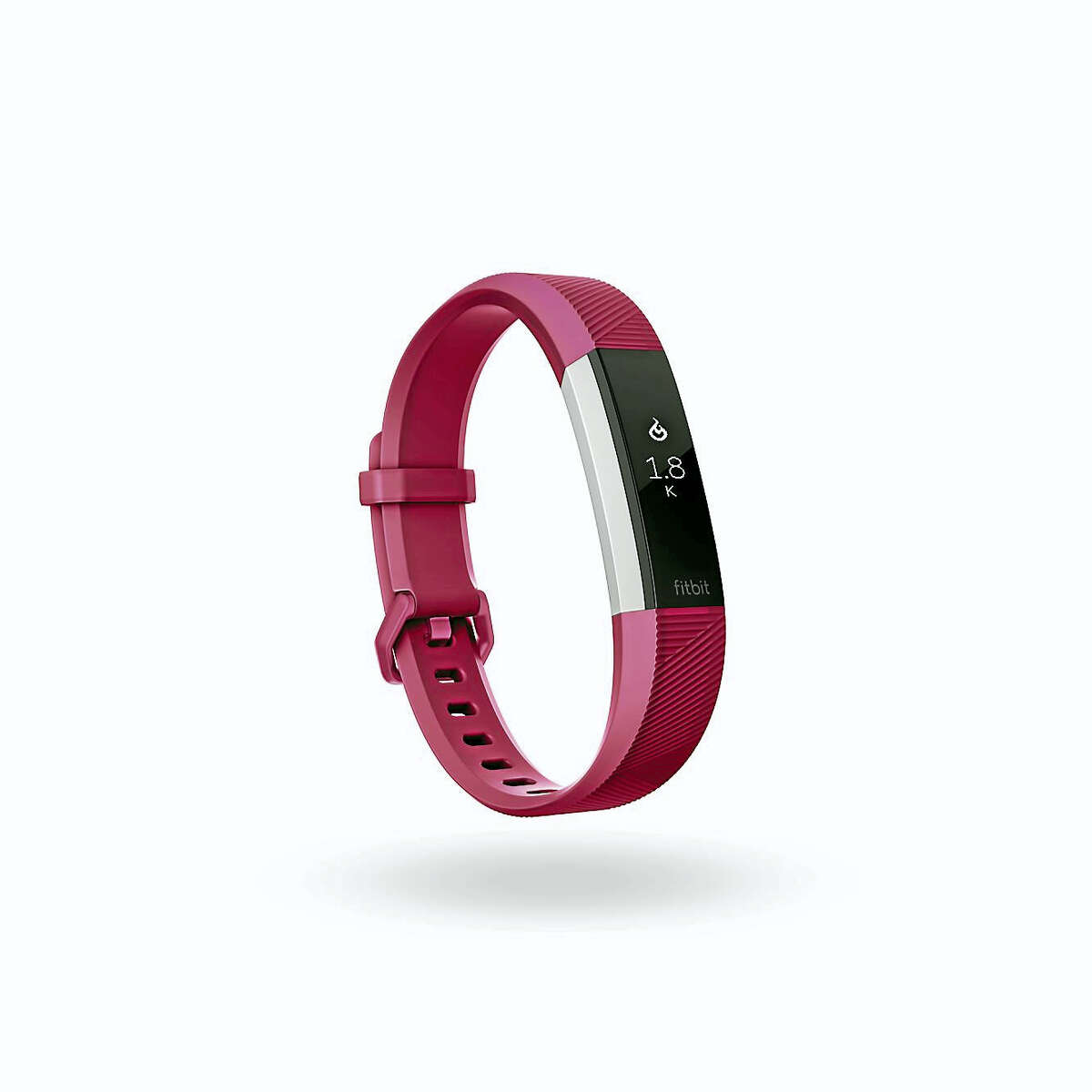 A view of the Alta HR in a classic fuchsia band showing 1.8K (1,800) calories burned.