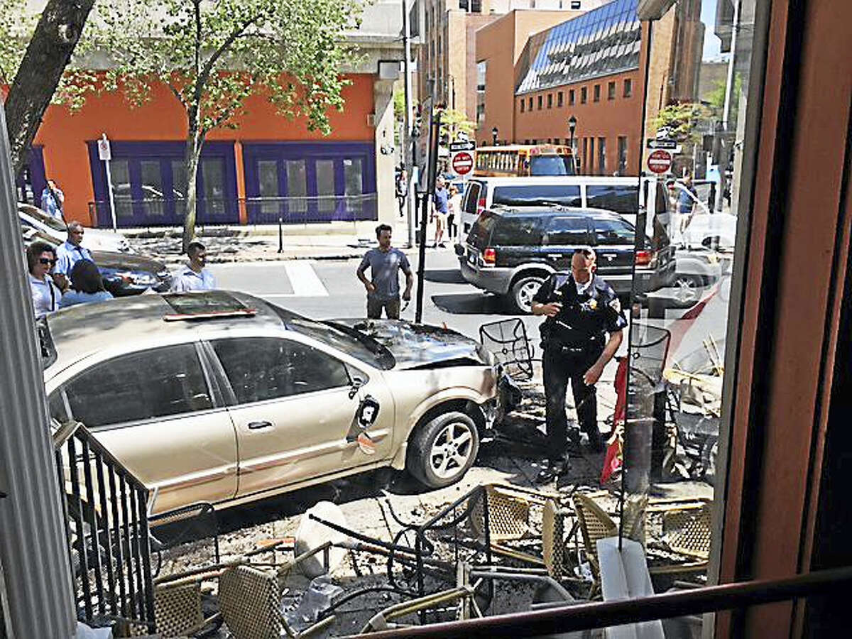 A car crashed into the outdoor seating area at Pacifico in New Haven Friday afternoon.