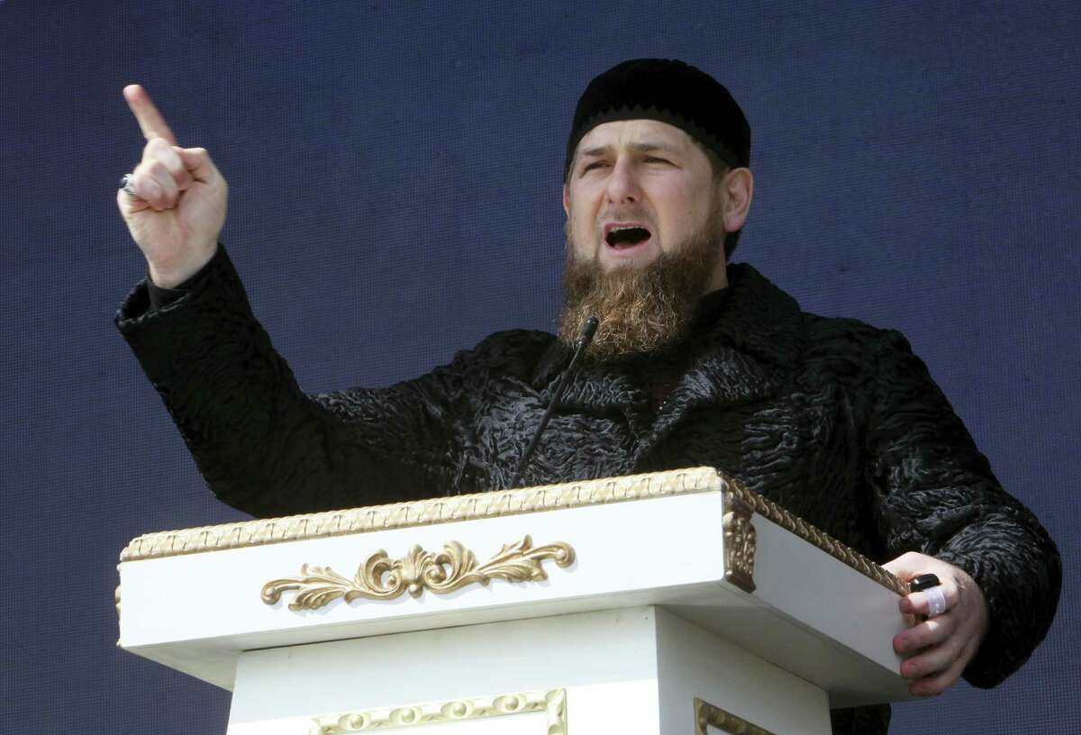 Chechen regional leader Ramzan Kadyrov addresses a rally marking the 13th anniversary of the adoption of the Constitution of Russian region of Chechnya, in the regional capital of Grozny, Russia.