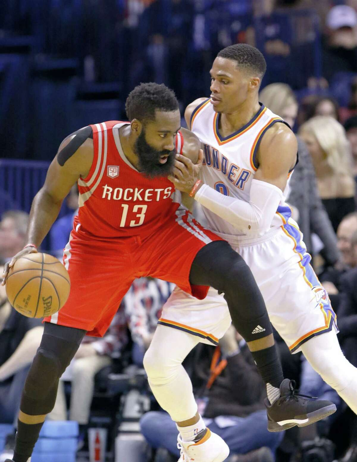 MVP candidates James Harden, left, and Russell Westbrook will square off against each other in the playoffs.